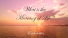 What is the Meaning of Life? (Ecclesiastes)